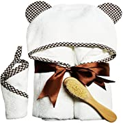 Tender Touch Hooded Baby Towel made from Organic Bamboo – Baby Towels with Hood and Washcloths Set | FREE Wooden Baby Hair Brush | Large sized, Extra Soft for Baby Boy & Baby Girl