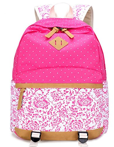 Unisex Stylish Preppy Student School Backpack Travel Bags Knapsack (Rose Red) - 3