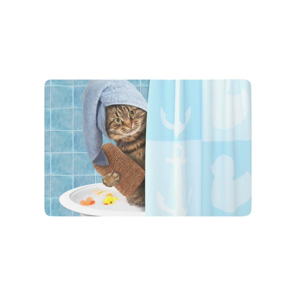 INTERESTPRINT Funny Cat Taking a Bath Anti-Slip Door Mat Home Decor, Cute Animal Indoor Outdoor Entrance Doormat Rubber Backing 23.6 X 15.7 Inches