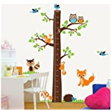 "Owl tree jungle animals growth chart nursery wall sticker decor 73""Height removable jungle tree nursery wall decor sticker art decal baby kids bedroom mural"