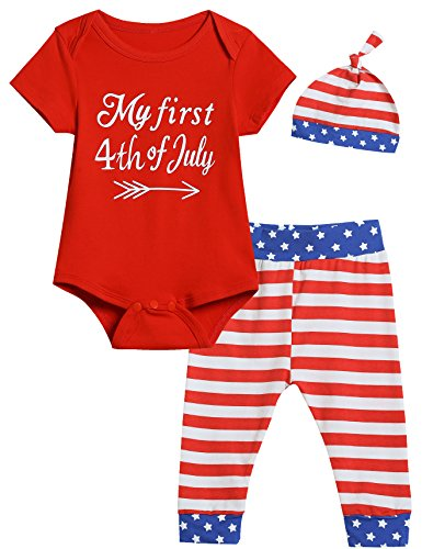 Baby Boys Girls Outfit Set My First Fourth of July Flag Striped Sleeve Short Romper (6-12 (4th Of July Pajamas)