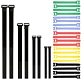 Cable Ties& Black Cinch Straps Set,Beyond Hope 28 pcs Reusable Colorful Cable Ties,Cord Fastening Wraps Straps,Adjustable Multi purpose Hook and Loop Fastening Straps for Home,Office 28 Pack.