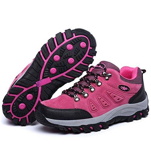 Taoffen Hommes Chaussures Unisexe Bottes De Randonnée En Plein Air Rose Rouge