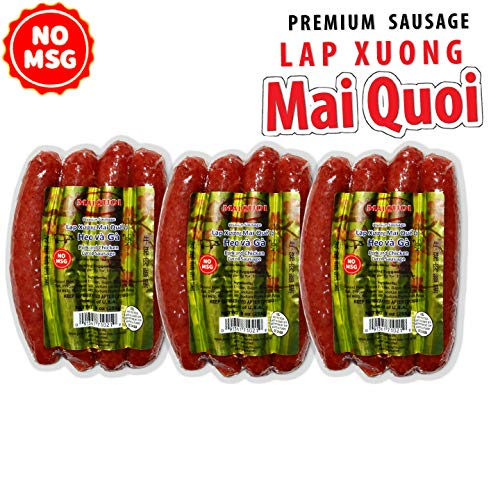 3 Packs of Premium Cured Pork and Chicken Chinese Style Sausage (Lap Xuong Mai Quoi Pork and Chicken) (No MSG)