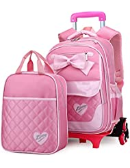 Meetbelify Rolling Backpacks For Girls School Bags Trolley Luggage