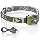 Foxelli USB Rechargeable Headlamp Flashlight - 180 Lumen, up to 40 Hours of