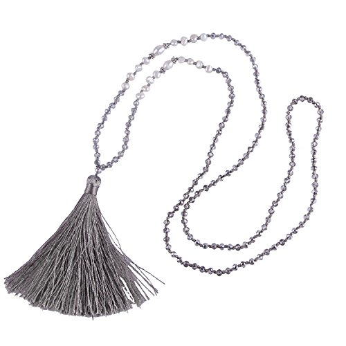 Bohemian Natural Freshwater Pearl Crystal Beaded Tassel Necklace Long Y Chain - Carbon Gray - Crystal Natural Pearl Necklace