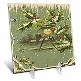 3dRose TDSwhite – Christmas Holidays Xmas - Rustic Vintage Country Church Snow Birds Nature Scene - 6x6 Desk Clock (dc_285074_1)