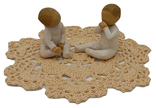 Willow Tree Family Themed Figurine with Westbraid Doily (Two Together) (Together Tree Figurine Willow)
