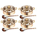 """Set of 4 Prisha India Craft ® High Quality Handmade Steel Copper Casserole with Lid and Serving Spoon - Set of Copper Handi and Serving Spoon - Bowl Dia - 5.00"""" X Height - 2.25"""" - Christmas Gift"""