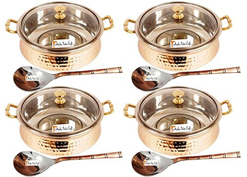 Set of 4 Prisha India Craft ® High Quality Handmade Steel Copper Casserole with Lid and Serving Spoon - Set of Copper Handi and Serving Spoon - Bowl Dia - 5.00' X Height - 2.25' - Christmas Gift