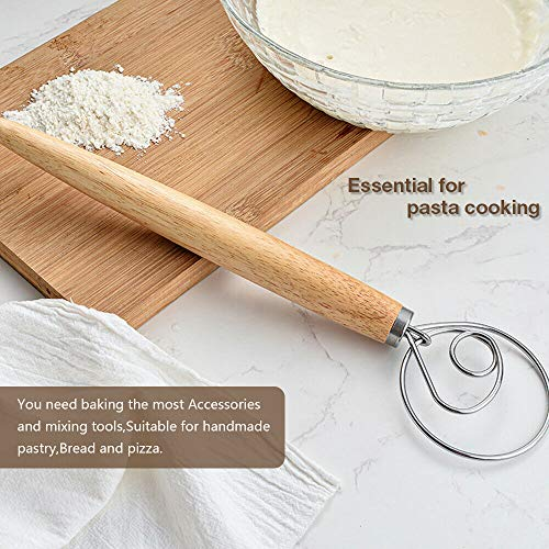 Danish Dough Whisk Dutch Bread Whisk 2 pcs Wooden Hand Mixer Bread Baking Tools for Cake Dessert Bread Pizza Pastry Food Biscuits Kitchenware Tool Stainless Steel Ring