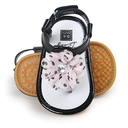 sandalias nina verano baratas Switchali Recién nacido zapatos bebe niña primeros pasos con suela blanda princesa Zapatos floral Sandalias de vestir niña playa Zapatillas Negro