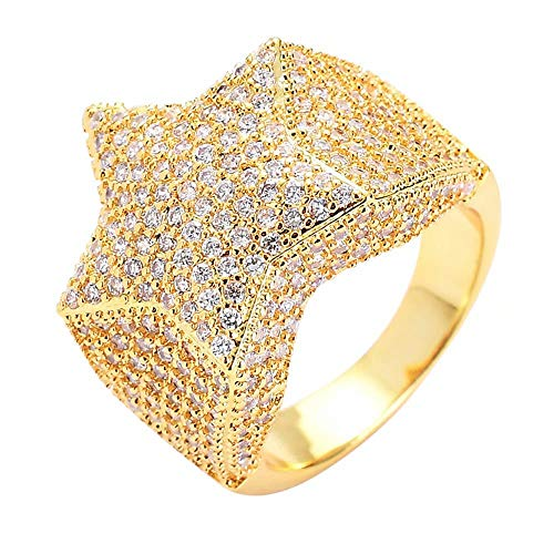lovty Mens Hip Hop 14K Gold Plated Iced Out Cluster Diamond CZ Bling Star Punk Ring