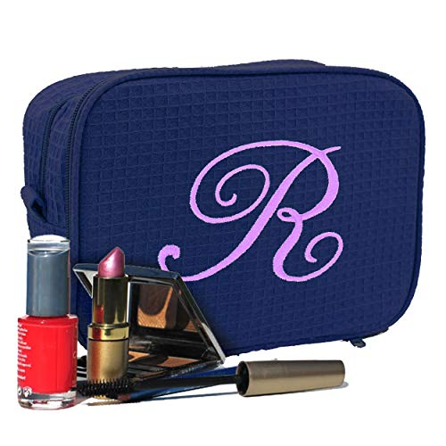 Personalized Waffle Makeup Bag - Monogrammed Cosmetic Make Up Travel Train Case - Custom Embroidered for Free (Navy Blue)