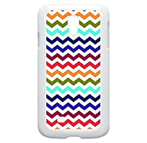 Bold and Colorful Chevrons- Case for the Galaxy S4 i9500 -Hard White Plastic Outer Shell with Inner hard Black Rubber Lining