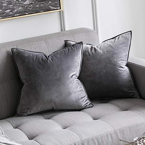 MIULEE Pack of 2 Decorative Velvet Throw Pillow Cover Soft Grey Pillow Cover Soild Square Cushion Case for Sofa Bedroom Car 18x 18 Inch 45x 45cm (Cushions Silver Grey)