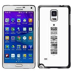 TopCaseStore / la caja del caucho duro de la cubierta de protección de la piel - Calligraphy Inspiring - Samsung Galaxy Note 4 SM-N910F SM-N910K SM-N910C SM-N910W8 SM-N910U SM-N910