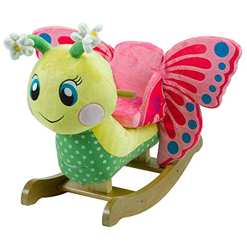 Rocking Horse Butterfly (Flutter Butterfly | Horse Plush Butterfly Baby Toy with Wooden Rocking Chiar Horse/Kid Rocking Toy/Baby Rocking Horse/Rocker/Animal Ride)