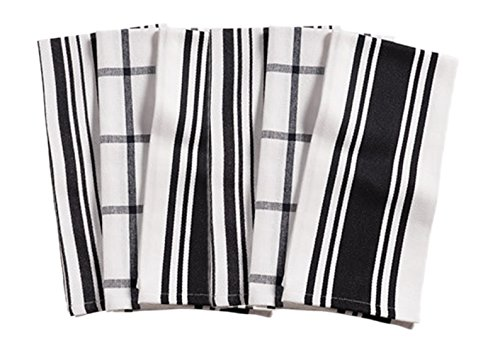 KAF Home Kitchen Towels,  Set of 6, Black & White, 100% Cotton, Machine Washable, Ultra Absorbent (Kitchen Checkered)