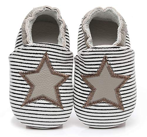 """Bebila Baby Slippers Elastic Ankle - Star Baby Moccasins Girls with Soft Sole Crib Pre-Walker Boys Slip on Shoes Stripe(US 6M/5.12""""/12-18months, -"""