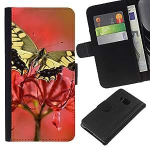 Planetar® Modelo colorido cuero carpeta tirón caso cubierta piel Holster Funda protección Para HTC One M7 ( Polilla de la mariposa de la flor de primavera Naturaleza )