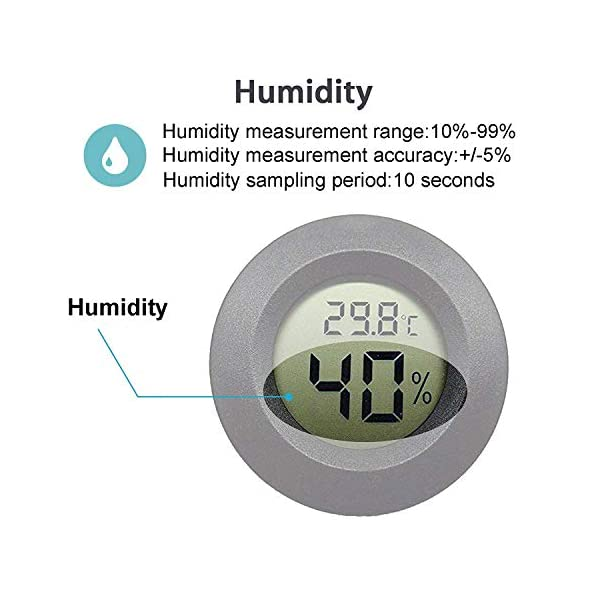 JEDEW 2-Pack Mini Hygrometer Thermometer Digital LCD Monitor Indoor Outdoor Humidity Meter Gauge for Humidifiers Dehumidifiers Greenhouse Basement Babyroom Fahrenheit or Celsius (Black-2 Pack) 3