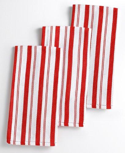 [Martha Stewart Collection Basket Weave Red-Striped Kitchen Towels, Set of 3 Red] (Martha Stewart Dish)