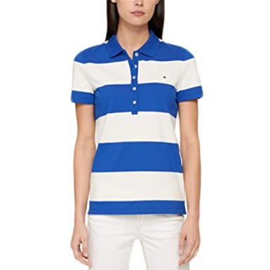 158ebed7fb5b9 Image Unavailable. Image not available for. Color  Tommy Hilfiger Striped  Polo Top White Size Medium