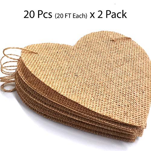Parfair Dessin 40 Pcs Stiffened Burlap Banner DIY Garland Decoration for Halloween, Christmas, Wedding, Baby Shower and Birthday Party, 40 feet (Heart) -