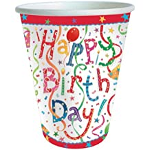 Entertaining with Caspari 9100CP Paper Cups, Pack of 8, Happy Birthday
