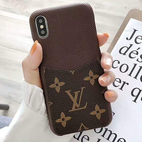 ViYi iPhone X Xs Case Elegant Luxury PU Leather Monogram Pattern Classic Style Cover,Case PU Leather with Card Holder Slot Cover for Apple iPhone X Xs