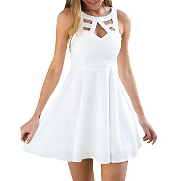 Igemy- Vestido para Mujer, Espalda Bohemia, Encaje, Mini Vestido sin Mangas,