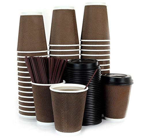 (120 Count - 12oz Disposable Paper Hot Coffee Cups with Lids and Stirring Straws To Go - Premium Material, Non-leaking, Biodegradable, and)
