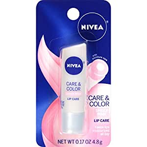 NIVEA Care & Color Sheer Pink Lip Care 0.17 Ounce Carded Pack (Pack of 6)