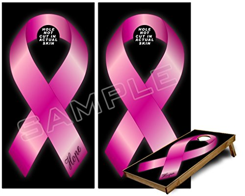 Cornhole Bag Toss Game Board Vinyl Wrap Skin Kit - Hope Breast Cancer Pink Ribbon on Black (fits 24x48 game boards - Gameboards NOT INCLUDED)
