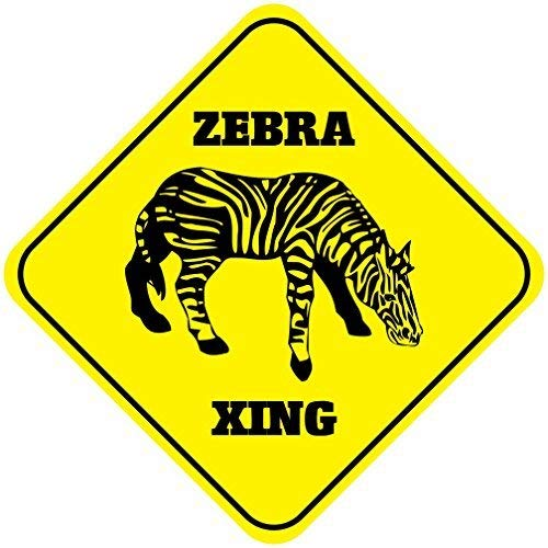 Liz66Ward Zebra Aluminum Corssing Sign Caution Signs Funny Metal Animal Crossing Wall Art Decor 12x12 Novelty Gifts Sign