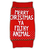 Home Alone Merry Christmas Ya Filthy Animal Red Ugly Sweater for Pets (Small)