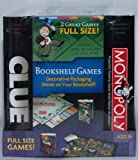 : Monopoly and Clue Board Game Set - Decorative Bookshelf Edition