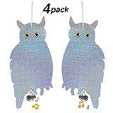 Pawaca 4 Pack Bird Repellent Scare Bird Tape Owls,Flash Bird Deterrent Hanging Owl-Double Side Bird Deterrent, Holographic Reflective Woodpecker FOR Gardens, Greenhouse