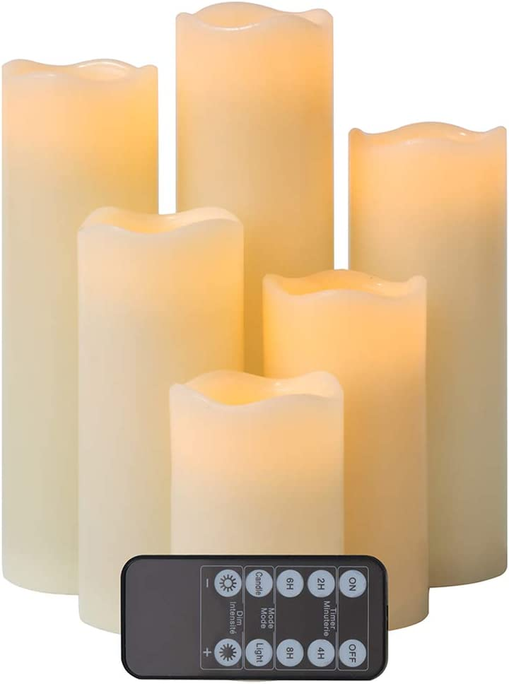 "Flameless Candles LED Candle Set of 6 (H 4"" 5"" 6"" 7"" 8"" 9"" x D 2.5"") Realistic Flickering Electric Candles aa Battery Operated, Ivory Real Wax LED Pillar Candle Sets with Remote Control and Timer"
