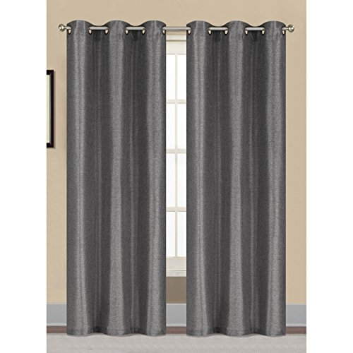 Window Elements Willow Textured Woven 76 x 84 in. Grommet Curtain Panel Pair, Charcoal (Window Covering Ideas)
