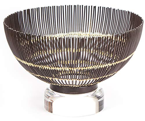 RED FIG HOME Decorative Wire Bowl with Gold Accent – Home Décor Accent & Kitchen Table -