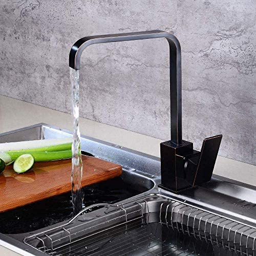 Zxyan 蛇口 立体水栓 バスルームのシンクは、スロット付き浴室の洗面台のシンクホットコールドタップミキサー流域の真鍮のシンクのキッチン食器温水や冷水蛇口ヨーロピアンスタイルのレトロ回転シンクシンクの回転スクエア蛇口をタップ トイレ/キッチン用