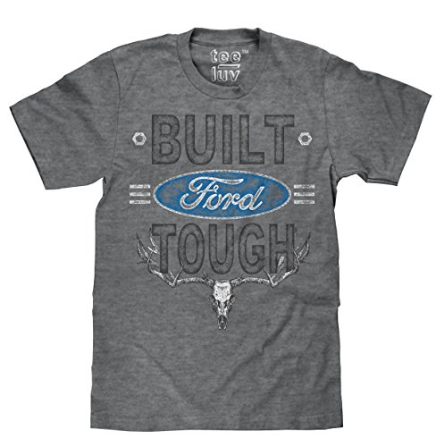 Tee Luv Built Ford Tough T-Shirt - Distressed Ford Logo Deer Skull Shirt (Large) Heather Graphite