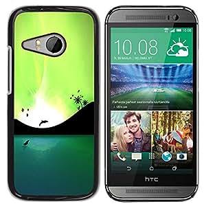 Be Good Phone Accessory // Dura Cáscara cubierta Protectora Caso Carcasa Funda de Protección para HTC ONE MINI 2 / M8 MINI // Blue Lagoon Dolphins & Birds