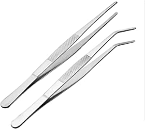 Meichu Kitchen Tweezers Long Tweezers, 12 Inch Stainless Steel Food Tweezers with Precision Serrated Tips for Cooking and Medical (12