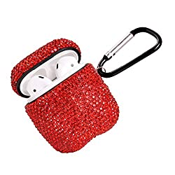 Red Luxurious Rhinestone AirPods Case