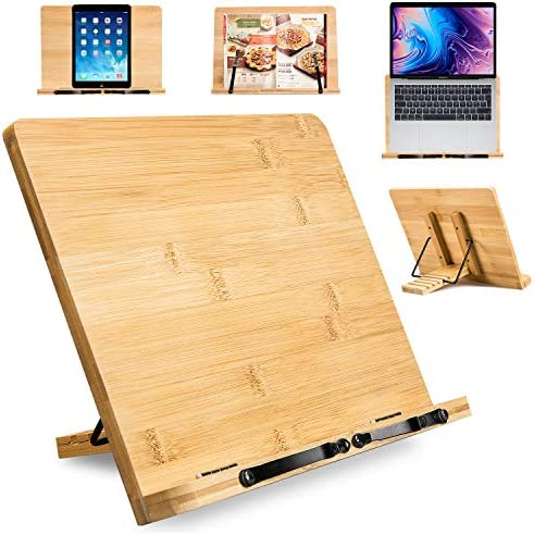 Large Bamboo Book Stand - 15.75 x 11.75 Inch Foldable Cookbook Holders and Stands with 5 Adjustable Height for Recipe Textbook Magazine