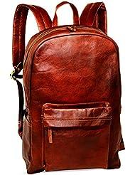 18 Brown Leather Backpack Vintage Rucksack Laptop Bag Water Resistant Casual Daypack College Bookbag Comfortable...
